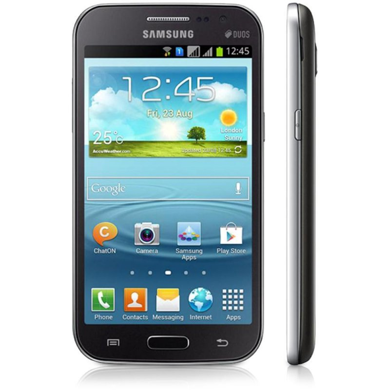 Smartphone Samsung Galaxy Win Duos I8552 / Preto / Dual Chip / Android 4.1 / 5.0MP / Full Touch 4.7 / Desbloqueado