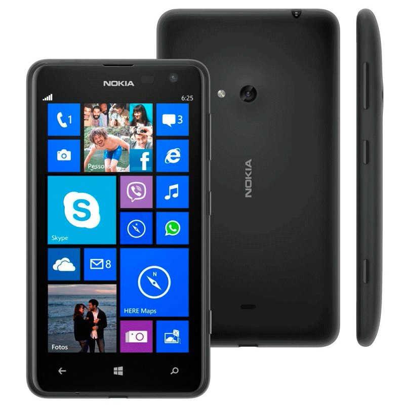 Smartphone Nokia Lumia 625 4G Windows 8 Tela 4,7 ´ ´ Câmera 5MP Wi - Fi Bluetooth 8GB Preto / Desbloqueado 625 LUMIA