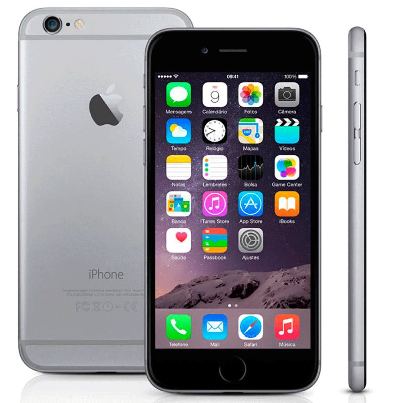 IPhone 6 Apple MG3H2BZ / A 64GB IOS 8 4G Wi - Fi Câmera 8MP Cinza Espacial / Desbloqueado MG3H2BZ / A