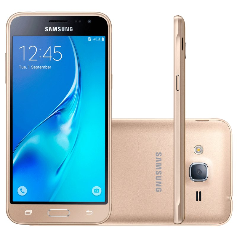 Smartphone Samsung Galaxy J3 2016 Dourado com 2 Chips Tela 5.0 Quad Core 1.5Ghz 8MP
