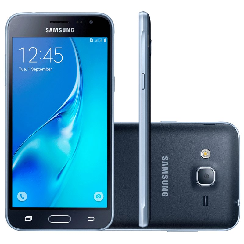 Smartphone Samsung Galaxy J3 2016 Preto com 2 Chips Tela 5.0 Quad Core 1.5Ghz 8MP