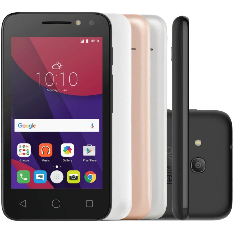 Smartphone Alcatel Pixi4 Metálico 4 ´ 8GB 3G Quad Core 1.3Ghz 8MP Dual Chip Android 6.0 com 4 Capas