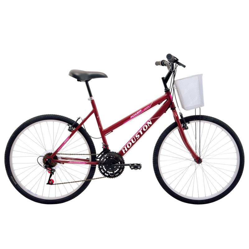 Bicicleta de Passeio Feminina Houston Maori FX26M1N Aro 26 Alumínio Vermelho e Rosa FX26M1N