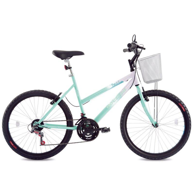 Bicicleta de passeio Feminina Houston Bristol Peak Aro 24 Branco / Verde BR241N