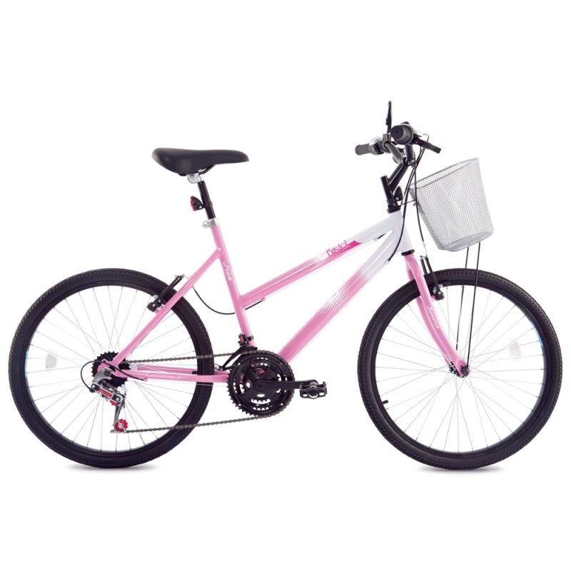 Bicicleta de Passeio Feminina Houston Bristol Peak Aro 24 Branco / Rosa BR242N