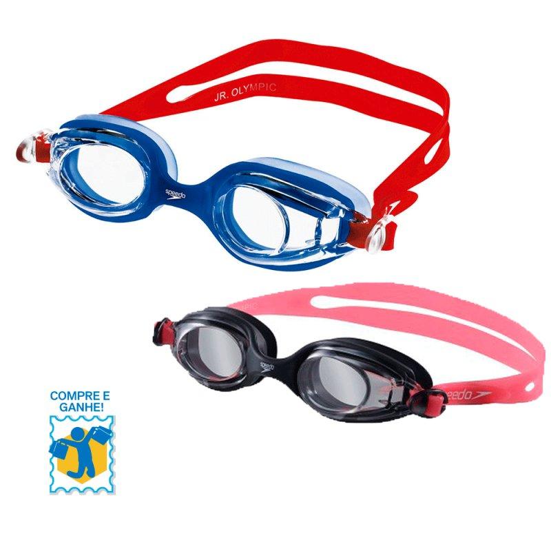 Promoção Compre e Ganhe Óculos de Natação Jr. Olimpic Speedo Vermelho / Olimpic Rosa e Chaveiro 507721 Azul C#179103