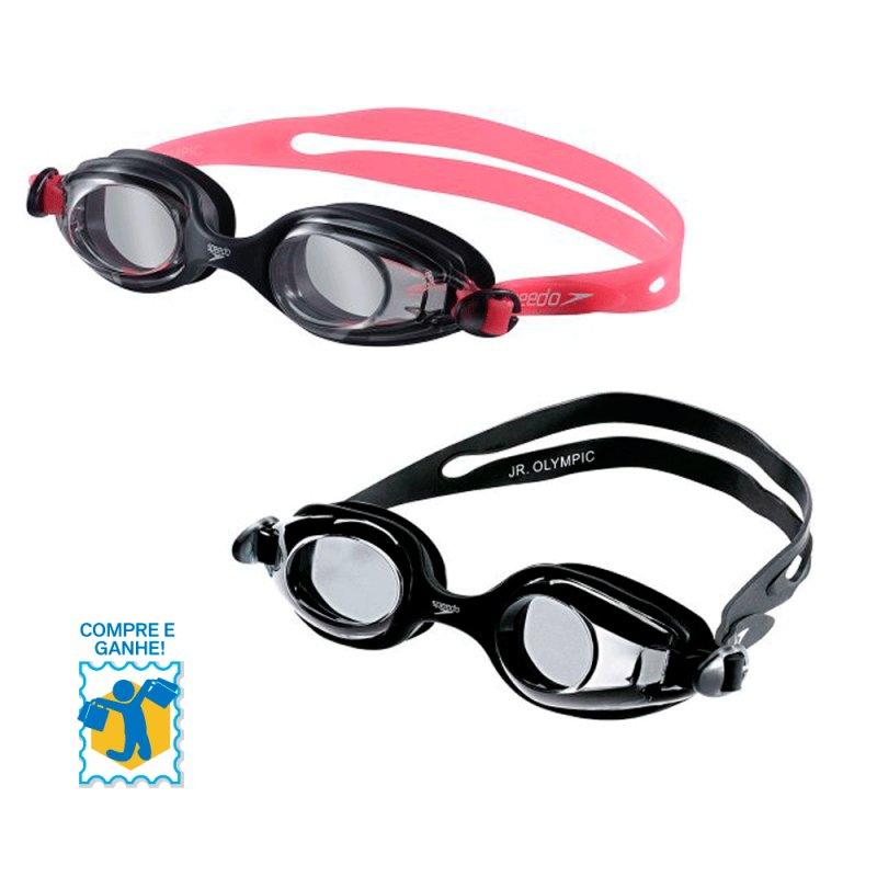 Promoção Compre e Ganhe Óculos de Natação Jr. Olimpic Speedo Rosa / Olimpic Speedo Preto e Chaveiro 507721 C#7949682.025