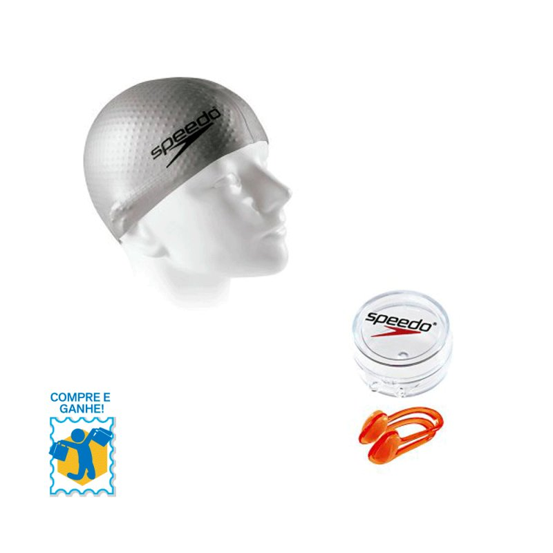 Promoção Compre e Ganhe Touca de Natação Massage Cap Speedo / Protetor Nasal e Chaveiro 527687 Cinz C#448827
